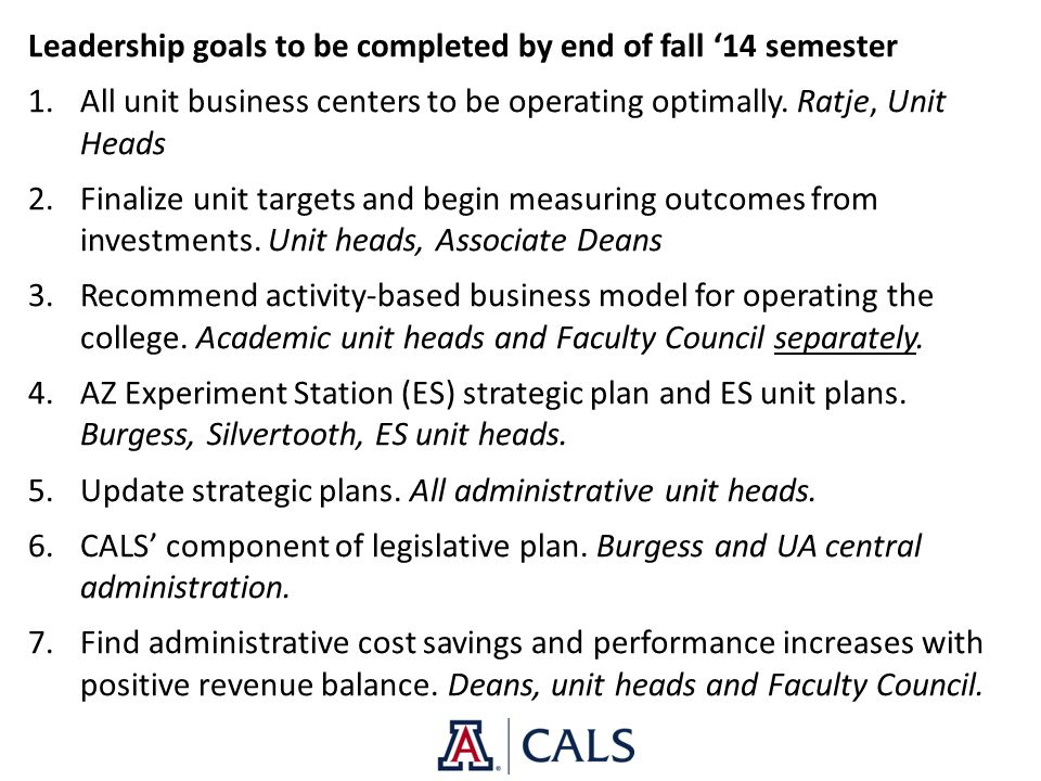 Leadership goals to be completed by end of fall '14 semester 1.All unit business centers to be operating optimally. Ratje, Unit Heads 2.Finalize unit