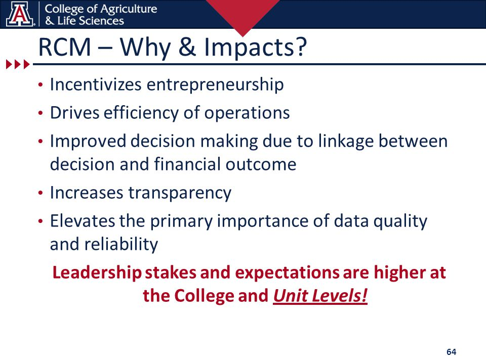 RCM – Why & Impacts? Incentivizes entrepreneurship Drives efficiency of operations Improved decision making due to linkage between decision and financ