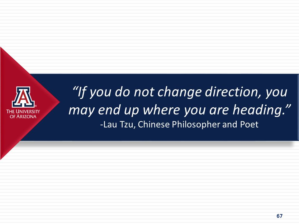 """If you do not change direction, you may end up where you are heading."" -Lau Tzu, Chinese Philosopher and Poet 67"