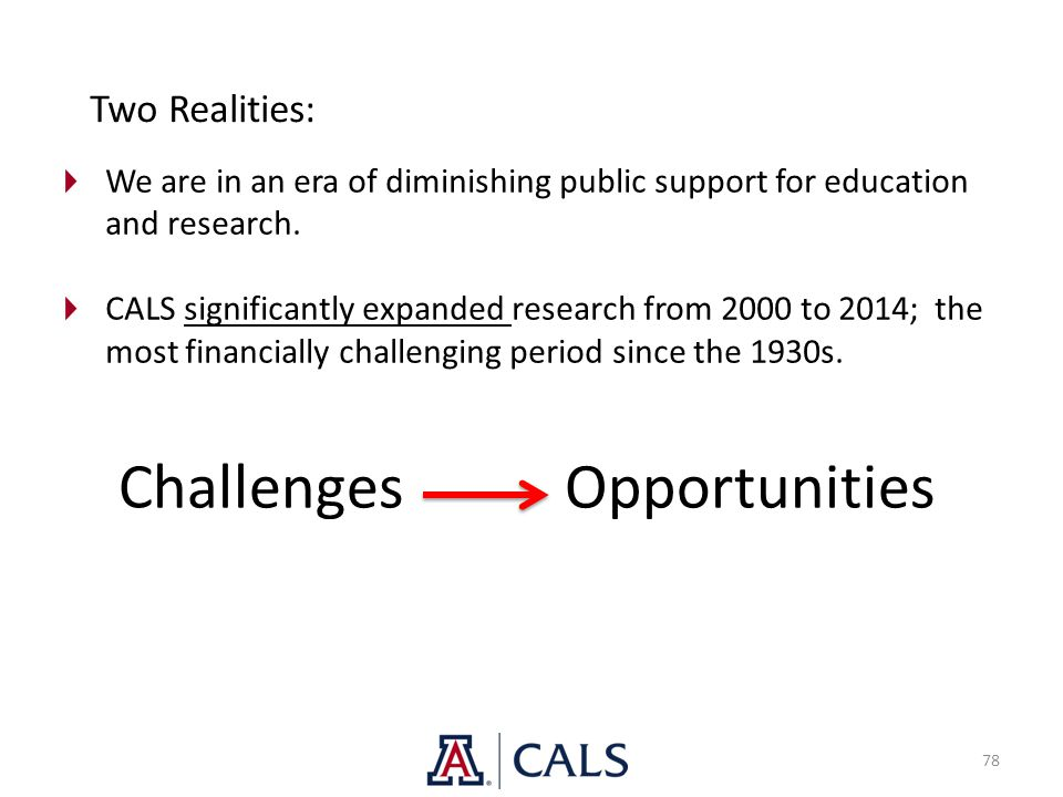 78 We are in an era of diminishing public support for education and research. CALS significantly expanded research from 2000 to 2014; the most financi