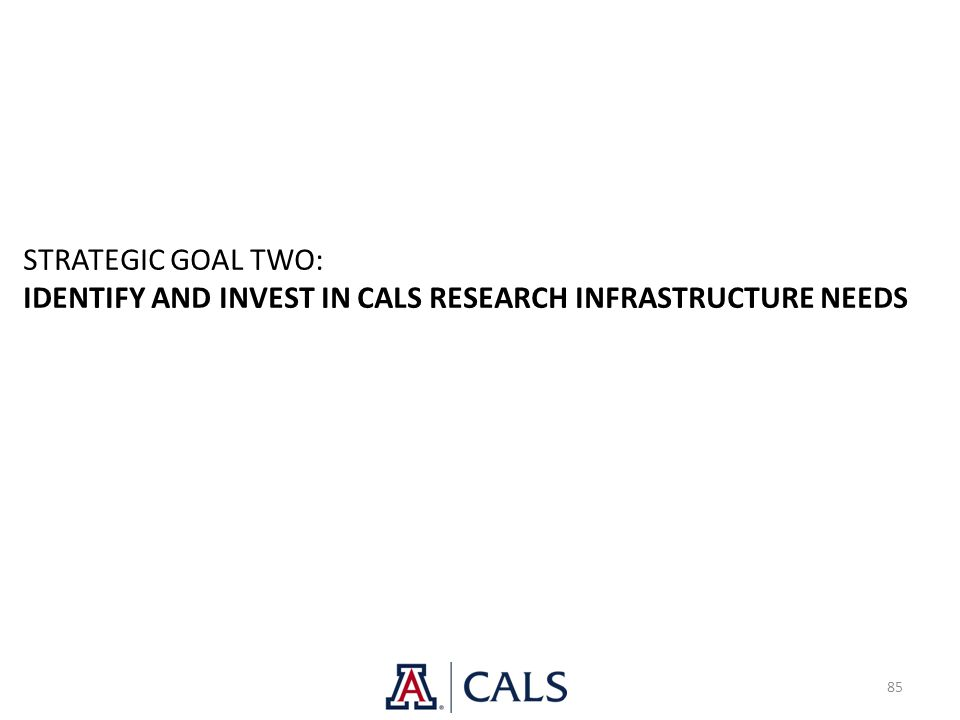 85 STRATEGIC GOAL TWO: IDENTIFY AND INVEST IN CALS RESEARCH INFRASTRUCTURE NEEDS