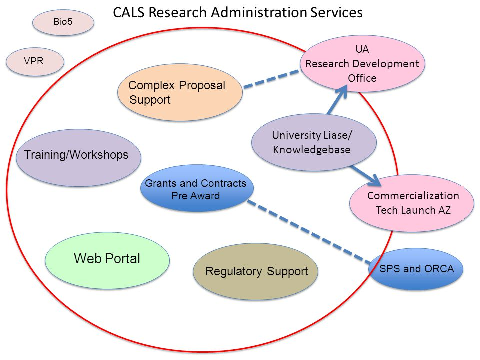 SPS and ORCA Grants and Contracts Pre Award Regulatory Support Complex Proposal Support CALS Research Administration Services Training/Workshops Web P