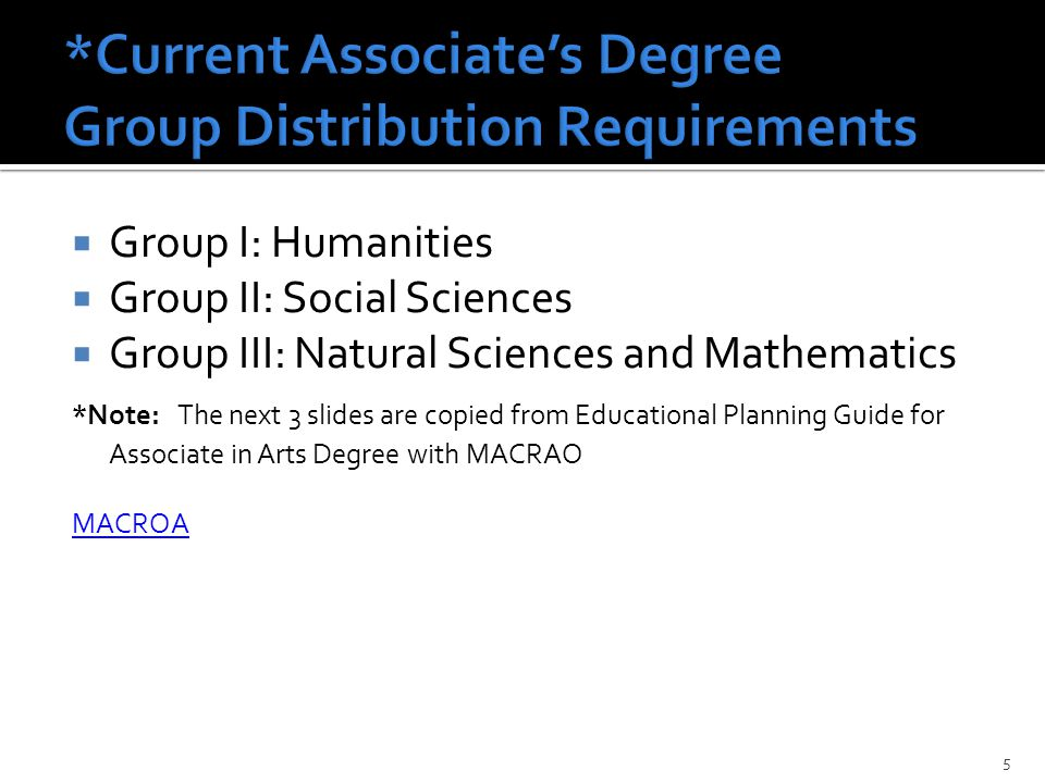  Group I: Humanities  Group II: Social Sciences  Group III: Natural Sciences and Mathematics *Note: The next 3 slides are copied from Educational Planning Guide for Associate in Arts Degree with MACRAO MACROA 5
