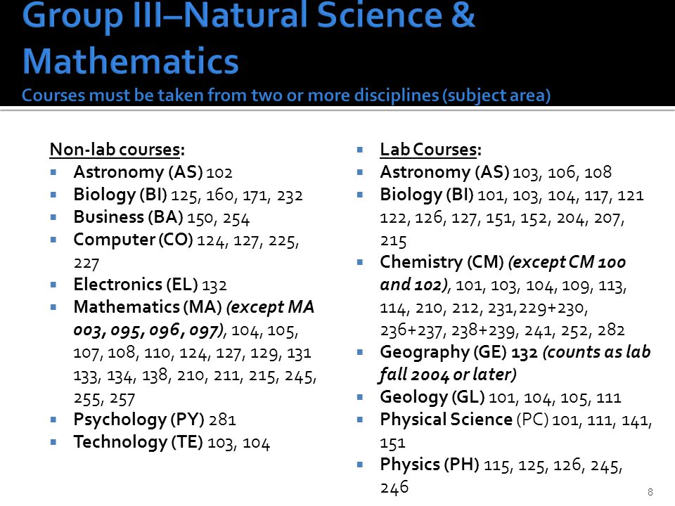 Non-lab courses:  Astronomy (AS) 102  Biology (BI) 125, 160, 171, 232  Business (BA) 150, 254  Computer (CO) 124, 127, 225, 227  Electronics (EL) 132  Mathematics (MA) (except MA 003, 095, 096, 097), 104, 105, 107, 108, 110, 124, 127, 129, 131 133, 134, 138, 210, 211, 215, 245, 255, 257  Psychology (PY) 281  Technology (TE) 103, 104  Lab Courses:  Astronomy (AS) 103, 106, 108  Biology (BI) 101, 103, 104, 117, 121 122, 126, 127, 151, 152, 204, 207, 215  Chemistry (CM) (except CM 100 and 102), 101, 103, 104, 109, 113, 114, 210, 212, 231,229+230, 236+237, 238+239, 241, 252, 282  Geography (GE) 132 (counts as lab fall 2004 or later)  Geology (GL) 101, 104, 105, 111  Physical Science (PC) 101, 111, 141, 151  Physics (PH) 115, 125, 126, 245, 246 8