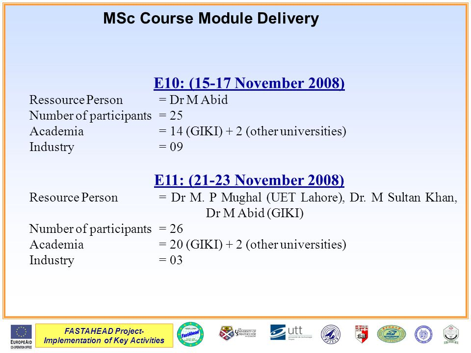 FASTAHEAD Project- Implementation of Key Activities E10: (15-17 November 2008) Ressource Person= Dr M Abid Number of participants= 25 Academia= 14 (GIKI) + 2 (other universities) Industry= 09 E11: (21-23 November 2008) Resource Person= Dr M.