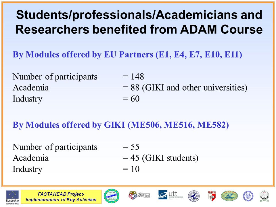 FASTAHEAD Project- Implementation of Key Activities Students/professionals/Academicians and Researchers benefited from ADAM Course By Modules offered by EU Partners (E1, E4, E7, E10, E11) Number of participants= 148 Academia= 88 (GIKI and other universities) Industry= 60 By Modules offered by GIKI (ME506, ME516, ME582) Number of participants= 55 Academia= 45 (GIKI students) Industry= 10