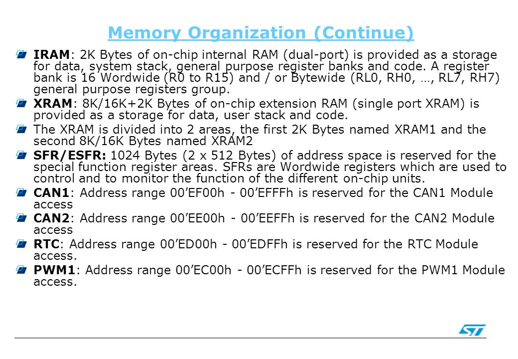 Memory Organization (Continue) IRAM: 2K Bytes of on-chip internal RAM (dual-port) is provided as a storage for data, system stack, general purpose reg