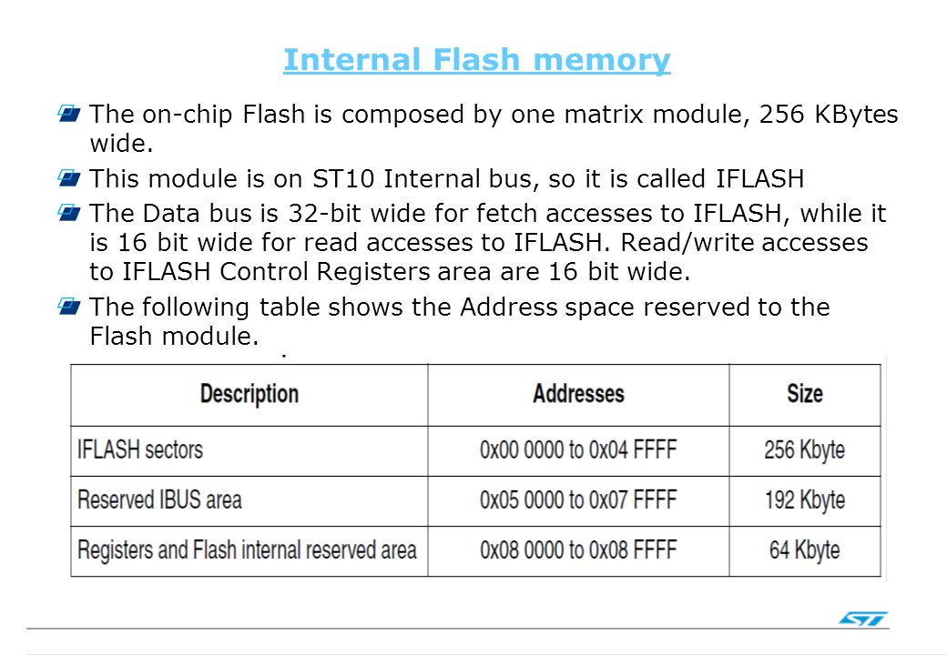 Internal Flash memory The on-chip Flash is composed by one matrix module, 256 KBytes wide. This module is on ST10 Internal bus, so it is called IFLASH