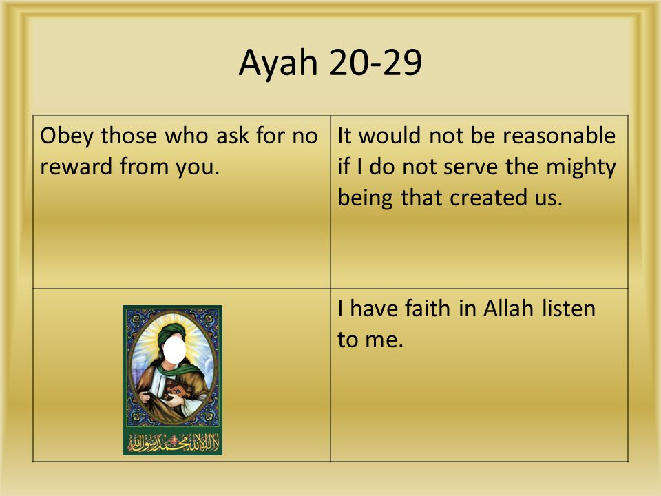 Ayah 20-29 Obey those who ask for no reward from you.