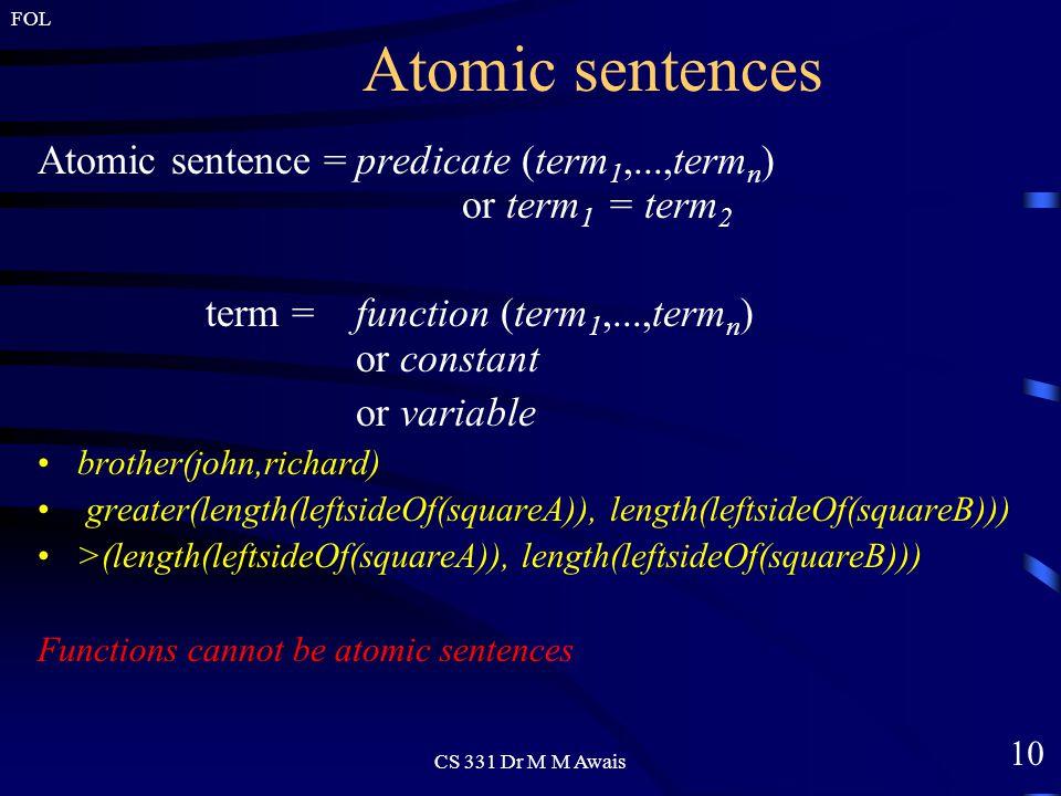 10 FOL CS 331 Dr M M Awais Atomic sentences Atomic sentence =predicate (term 1,...,term n ) or term 1 = term 2 term = function (term 1,...,term n ) or constant or variable brother(john,richard) greater(length(leftsideOf(squareA)), length(leftsideOf(squareB))) >(length(leftsideOf(squareA)), length(leftsideOf(squareB))) Functions cannot be atomic sentences