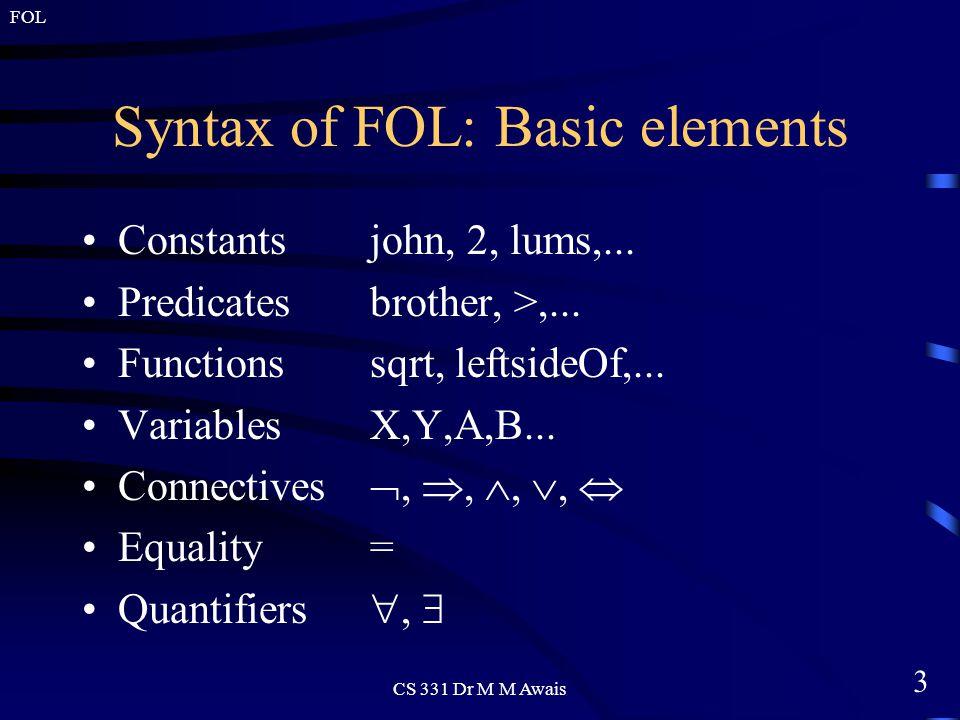 3 FOL CS 331 Dr M M Awais Syntax of FOL: Basic elements Constantsjohn, 2, lums,...