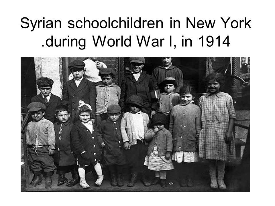 Syrian schoolchildren in New York during World War I, in 1914.