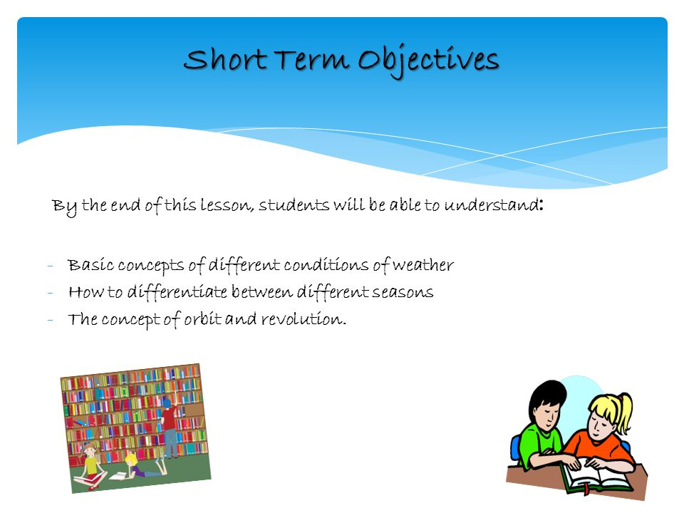 Short Term goals using Bloom Taxonomy