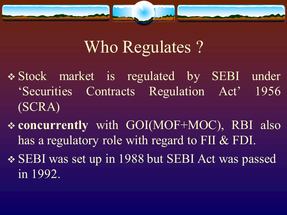 Who Regulates .