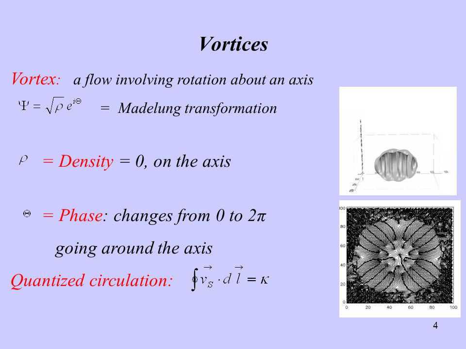 4 Vortices Vortex : a flow involving rotation about an axis = Madelung transformation = Density = 0, on the axis = Phase: changes from 0 to 2π going around the axis Quantized circulation: