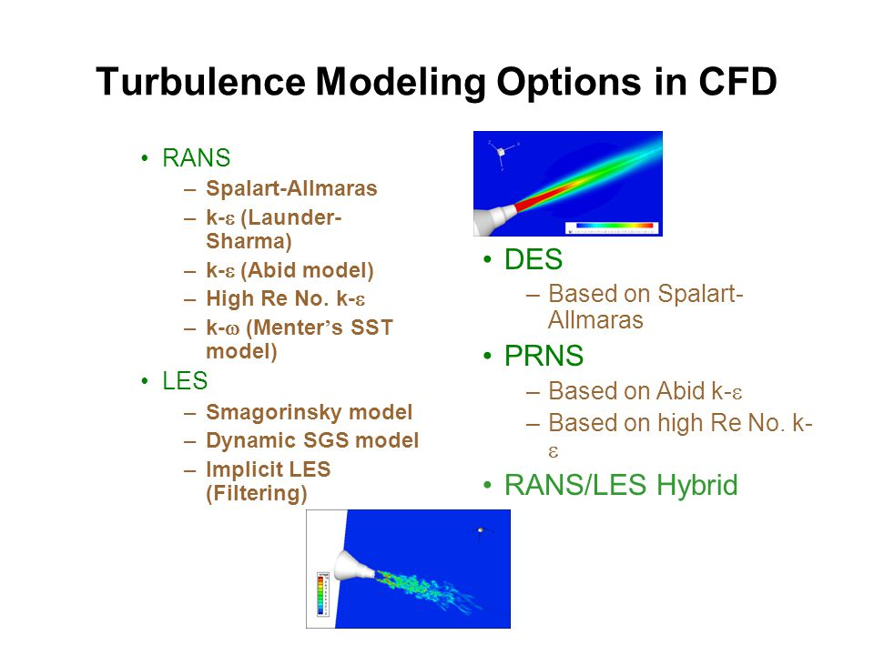 Turbulence Modeling Options in CFD RANS –Spalart-Allmaras –k-  (Launder- Sharma) –k-  (Abid model) –High Re No. k-  –k-  (Menter ' s SST model) LE