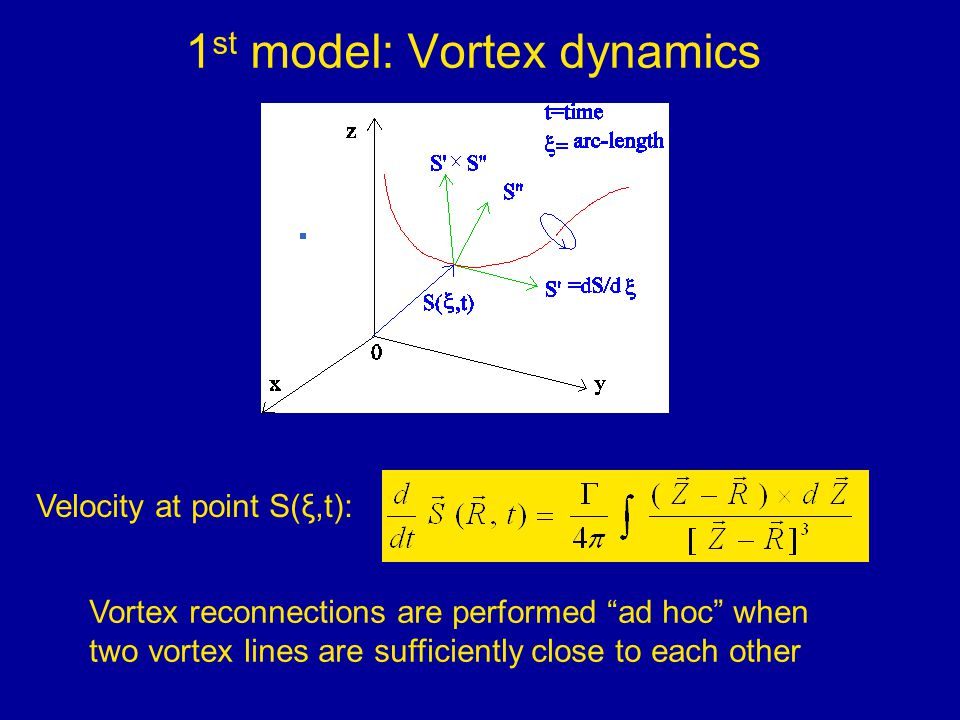 1 st model: Vortex dynamics Velocity at point S(ξ,t): Vortex reconnections are performed ad hoc when two vortex lines are sufficiently close to each other