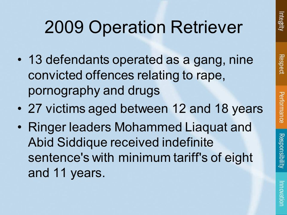 13 defendants operated as a gang, nine convicted offences relating to rape, pornography and drugs 27 victims aged between 12 and 18 years Ringer leaders Mohammed Liaquat and Abid Siddique received indefinite sentence s with minimum tariff s of eight and 11 years.
