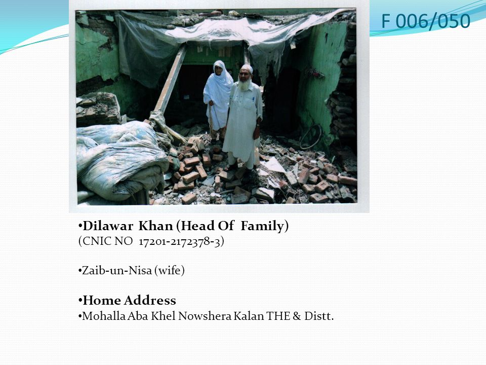 Dilawar Khan (Head Of Family) (CNIC NO 17201-2172378-3) Zaib-un-Nisa (wife) Home Address Mohalla Aba Khel Nowshera Kalan THE & Distt.