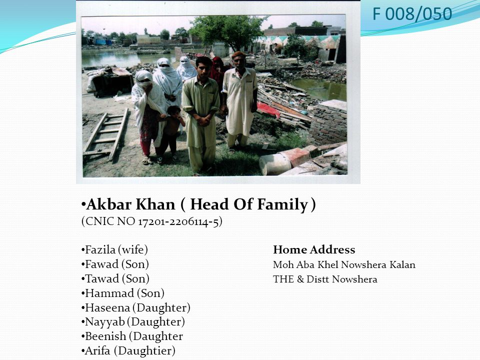 Akbar Khan ( Head Of Family ) (CNIC NO 17201-2206114-5) Fazila (wife)Home Address Fawad (Son) Moh Aba Khel Nowshera Kalan Tawad (Son) THE & Distt Nowshera Hammad (Son) Haseena (Daughter) Nayyab (Daughter) Beenish (Daughter Arifa (Daughtier) F 008/050