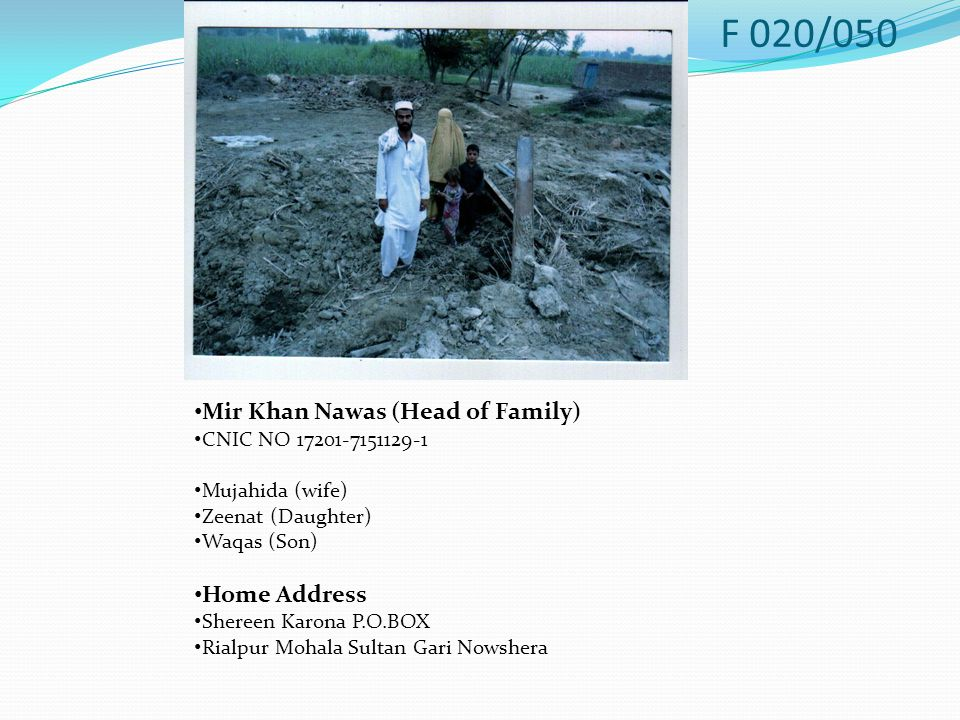 Mir Khan Nawas (Head of Family) CNIC NO 17201-7151129-1 Mujahida (wife) Zeenat (Daughter) Waqas (Son) Home Address Shereen Karona P.O.BOX Rialpur Mohala Sultan Gari Nowshera F 020/050