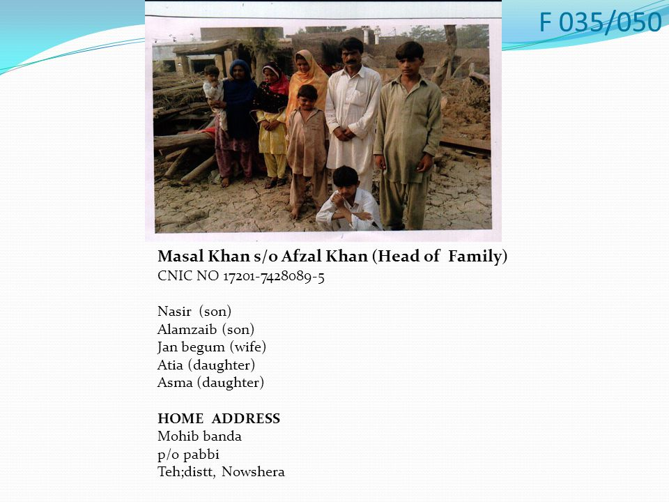 Masal Khan s/o Afzal Khan (Head of Family) CNIC NO 17201-7428089-5 Nasir (son) Alamzaib (son) Jan begum (wife) Atia (daughter) Asma (daughter) HOME ADDRESS Mohib banda p/o pabbi Teh;distt, Nowshera F 035/050