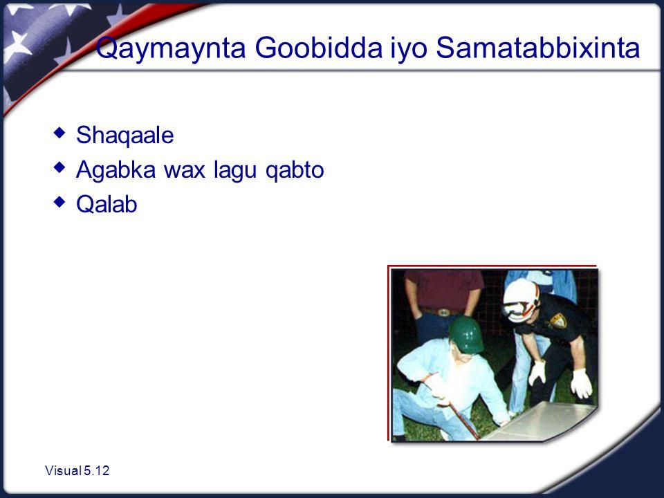 Visual 5.12 Qaymaynta Goobidda iyo Samatabbixinta  Shaqaale  Agabka wax lagu qabto  Qalab