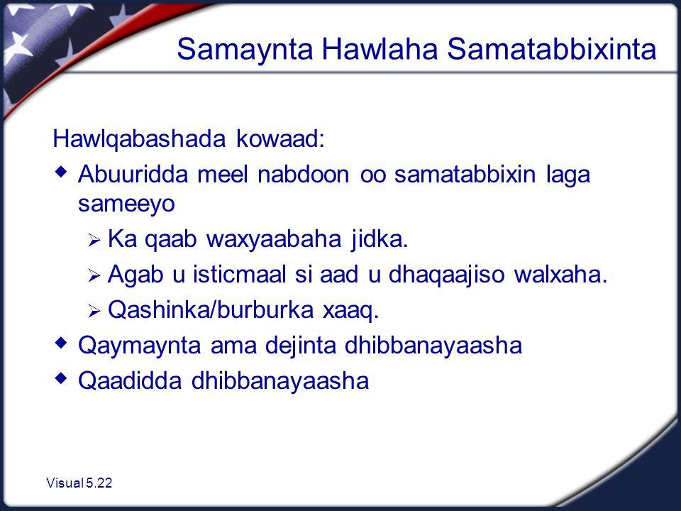 Visual 5.22 Samaynta Hawlaha Samatabbixinta Hawlqabashada kowaad:  Abuuridda meel nabdoon oo samatabbixin laga sameeyo  Ka qaab waxyaabaha jidka.