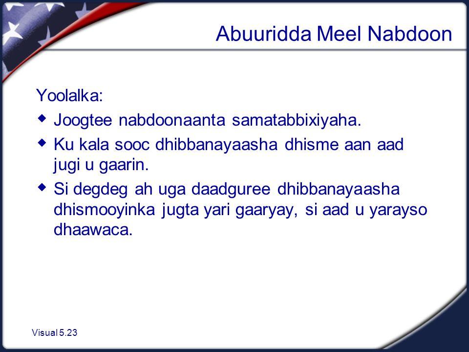 Visual 5.23 Abuuridda Meel Nabdoon Yoolalka:  Joogtee nabdoonaanta samatabbixiyaha.