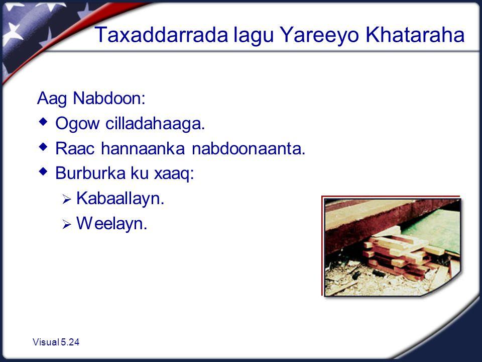 Visual 5.24 Taxaddarrada lagu Yareeyo Khataraha Aag Nabdoon:  Ogow cilladahaaga.
