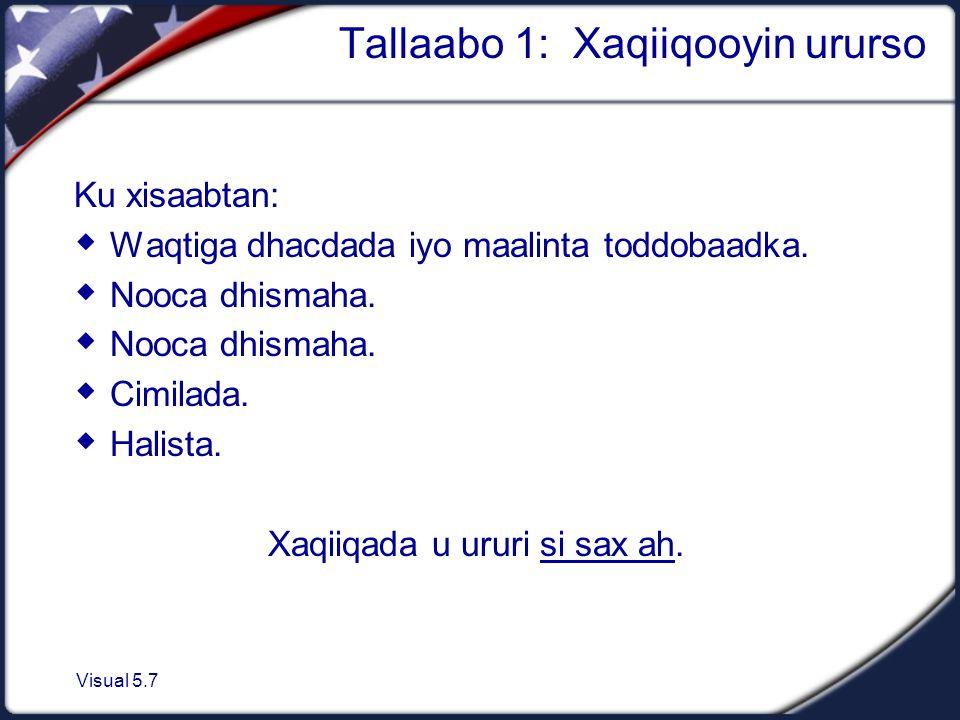 Visual 5.7 Tallaabo 1: Xaqiiqooyin ururso Ku xisaabtan:  Waqtiga dhacdada iyo maalinta toddobaadka.