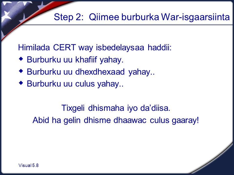 Visual 5.8 Step 2: Qiimee burburka War-isgaarsiinta Himilada CERT way isbedelaysaa haddii:  Burburku uu khafiif yahay.