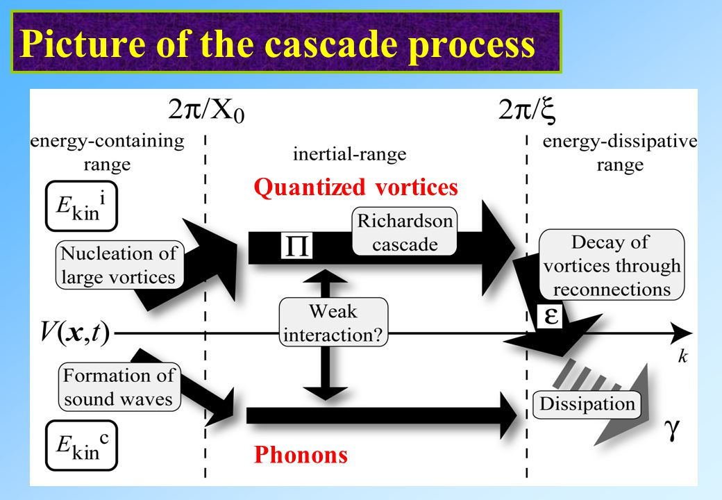 Picture of the cascade process Quantized vortices Phonons