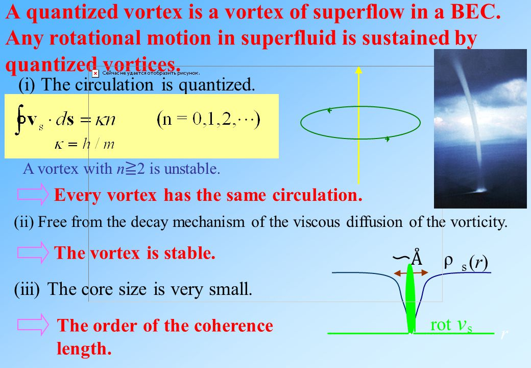 A quantized vortex is a vortex of superflow in a BEC.