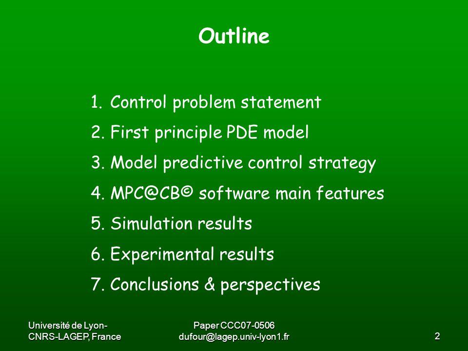 Université de Lyon- CNRS-LAGEP, France Paper CCC07-0506 dufour@lagep.univ-lyon1.fr13 Model predictive control strategy The function f means: trajectory tracking, processing time minimization, productivity function …