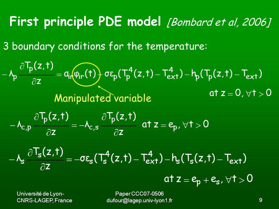 Université de Lyon- CNRS-LAGEP, France Paper CCC07-0506 dufour@lagep.univ-lyon1.fr10 First principle PDE model [Bombard et al, 2006] The degree of cure x(z,t) of the powder: Initial conditions:  0t,e0,z x)(1xek t t)x(z, p nm ) t)(z,RT E ( 0 p a     0t],ee[0,zTt)(z,Tt)(z,T spextsp  0t],e[0,z0t)x(z, p  