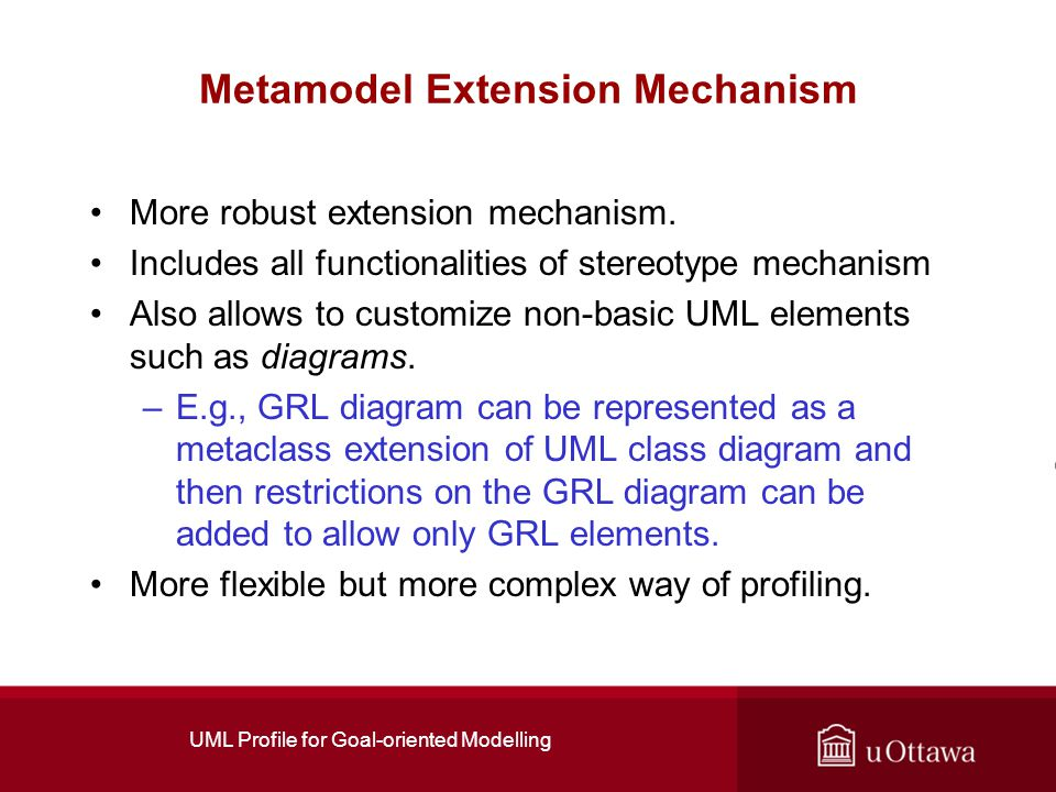 UML Profile for Goal-oriented Modelling Metamodel Extension Mechanism More robust extension mechanism.