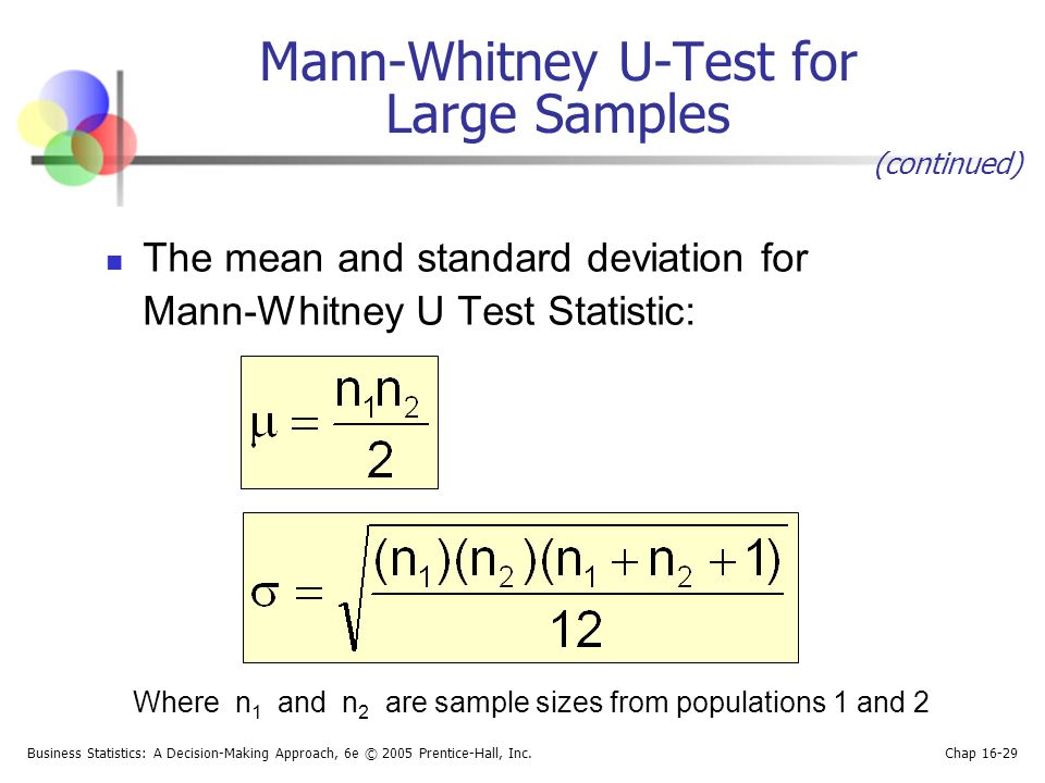 Business Statistics: A Decision-Making Approach, 6e © 2005 Prentice-Hall, Inc. Chap 16-29 Mann-Whitney U-Test for Large Samples The mean and standard