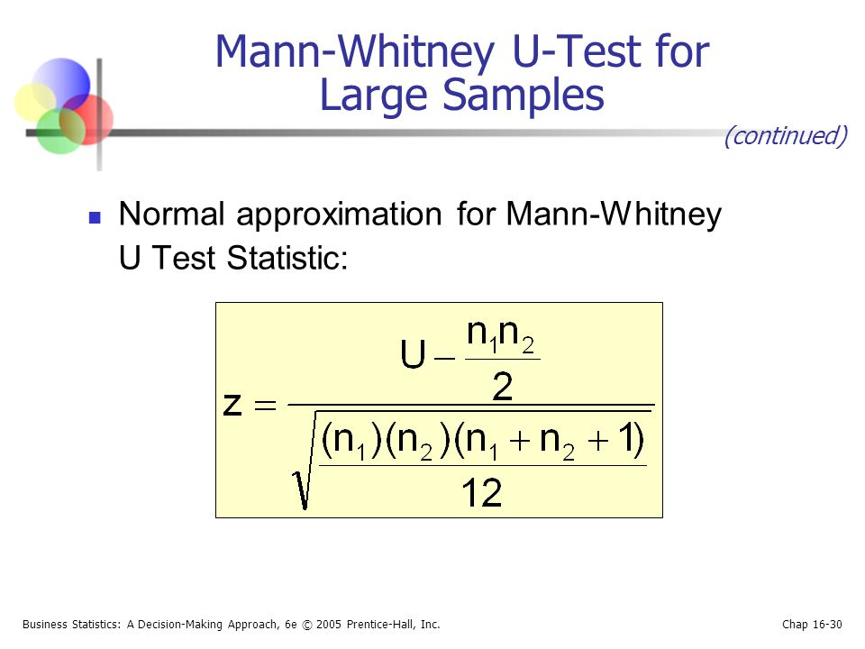 Business Statistics: A Decision-Making Approach, 6e © 2005 Prentice-Hall, Inc. Chap 16-30 Mann-Whitney U-Test for Large Samples Normal approximation f