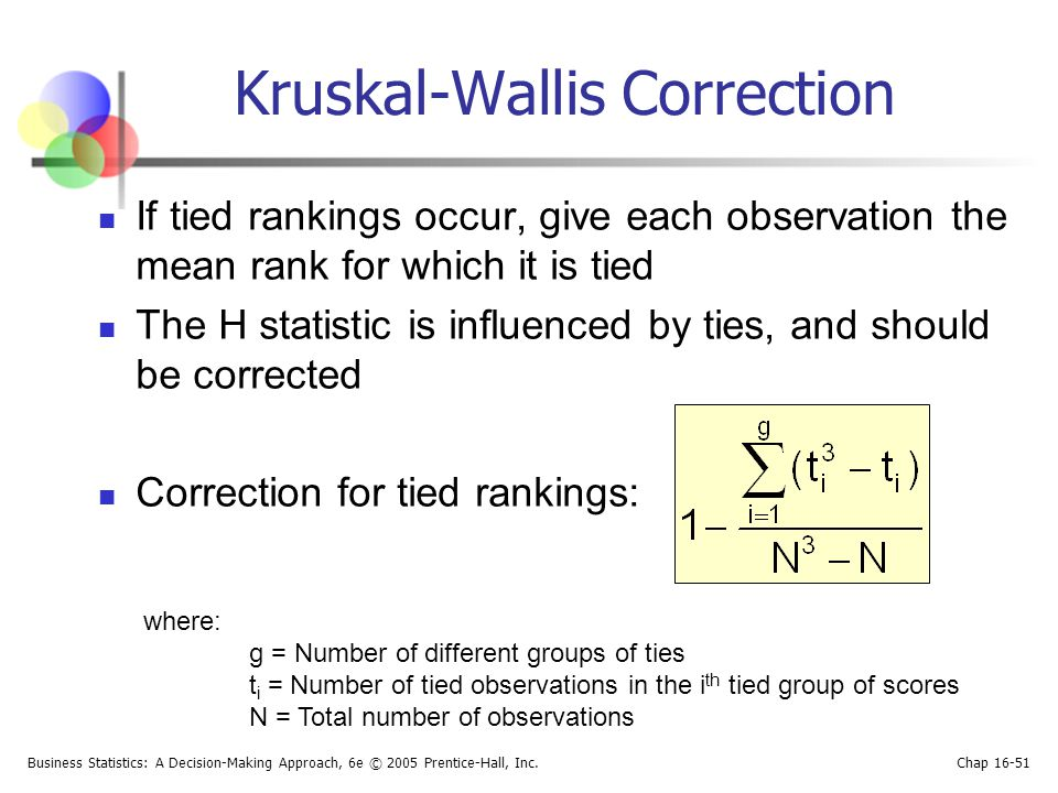 Business Statistics: A Decision-Making Approach, 6e © 2005 Prentice-Hall, Inc. Chap 16-51 Kruskal-Wallis Correction If tied rankings occur, give each
