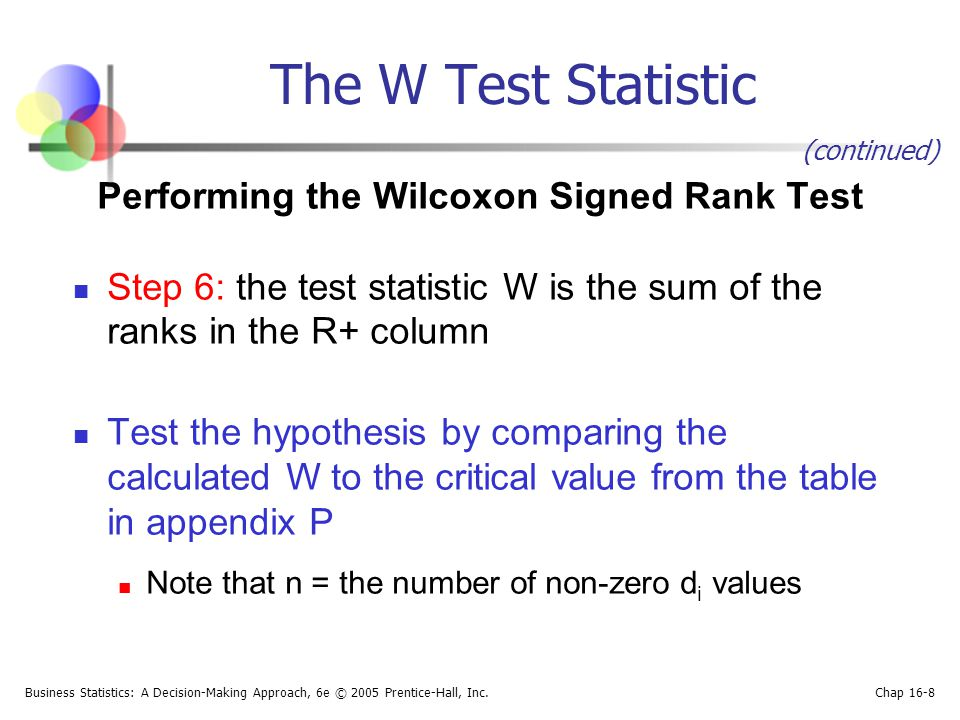 Business Statistics: A Decision-Making Approach, 6e © 2005 Prentice-Hall, Inc. Chap 16-8 The W Test Statistic Performing the Wilcoxon Signed Rank Test