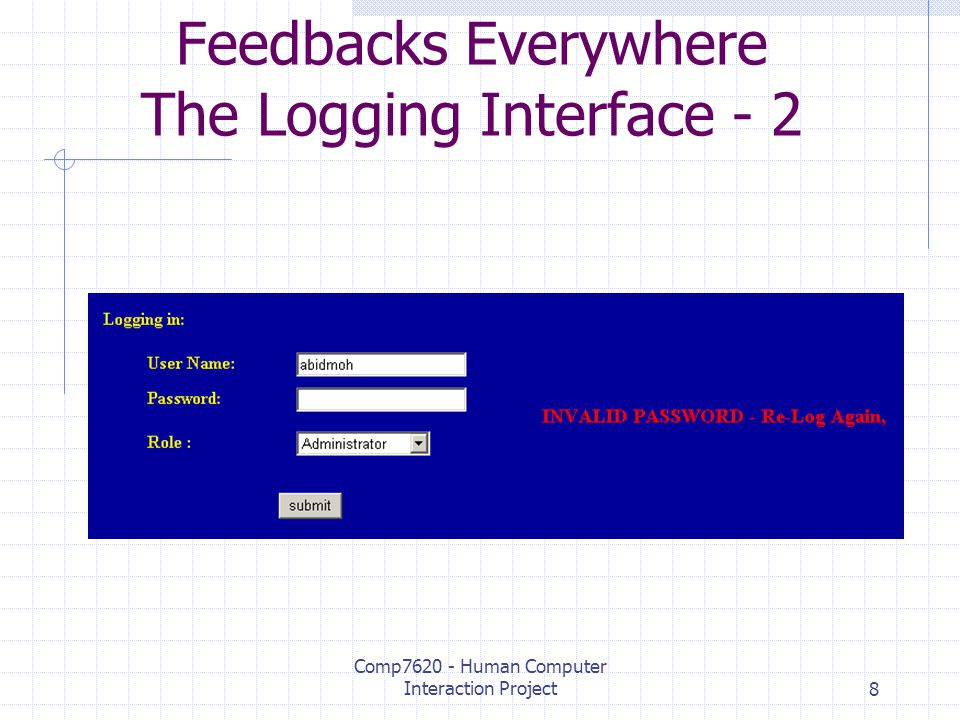 Comp7620 - Human Computer Interaction Project8 Feedbacks Everywhere The Logging Interface - 2