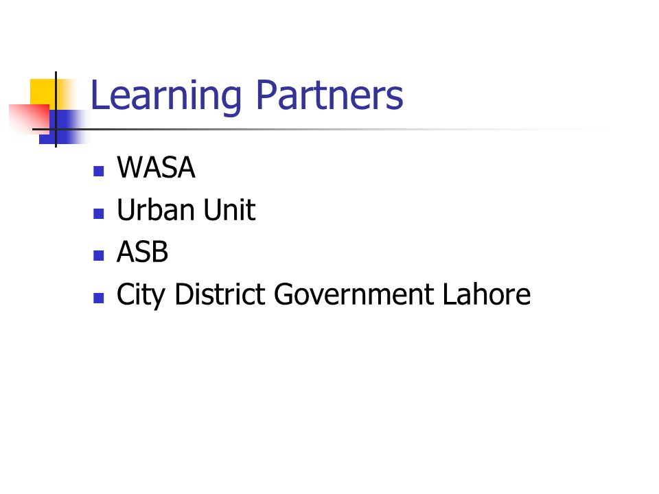 Learning Partners WASA Urban Unit ASB City District Government Lahore