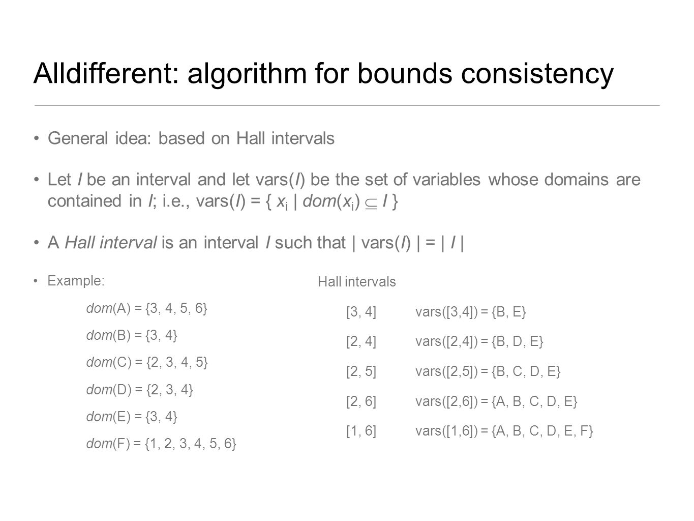 Alldifferent: algorithm for bounds consistency General idea: based on Hall intervals Let I be an interval and let vars(I) be the set of variables whos