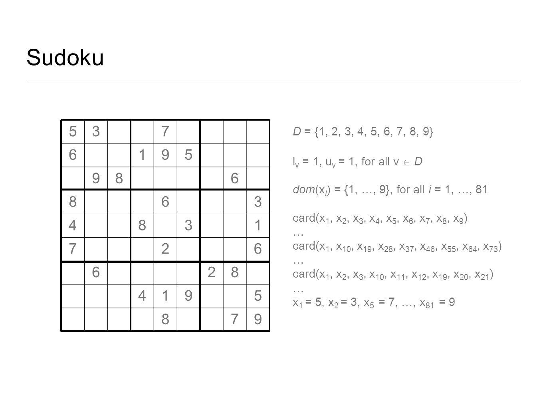 Sudoku D = {1, 2, 3, 4, 5, 6, 7, 8, 9} l v = 1, u v = 1, for all v  D dom(x i ) = {1, …, 9}, for all i = 1, …, 81 card(x 1, x 2, x 3, x 4, x 5, x 6,