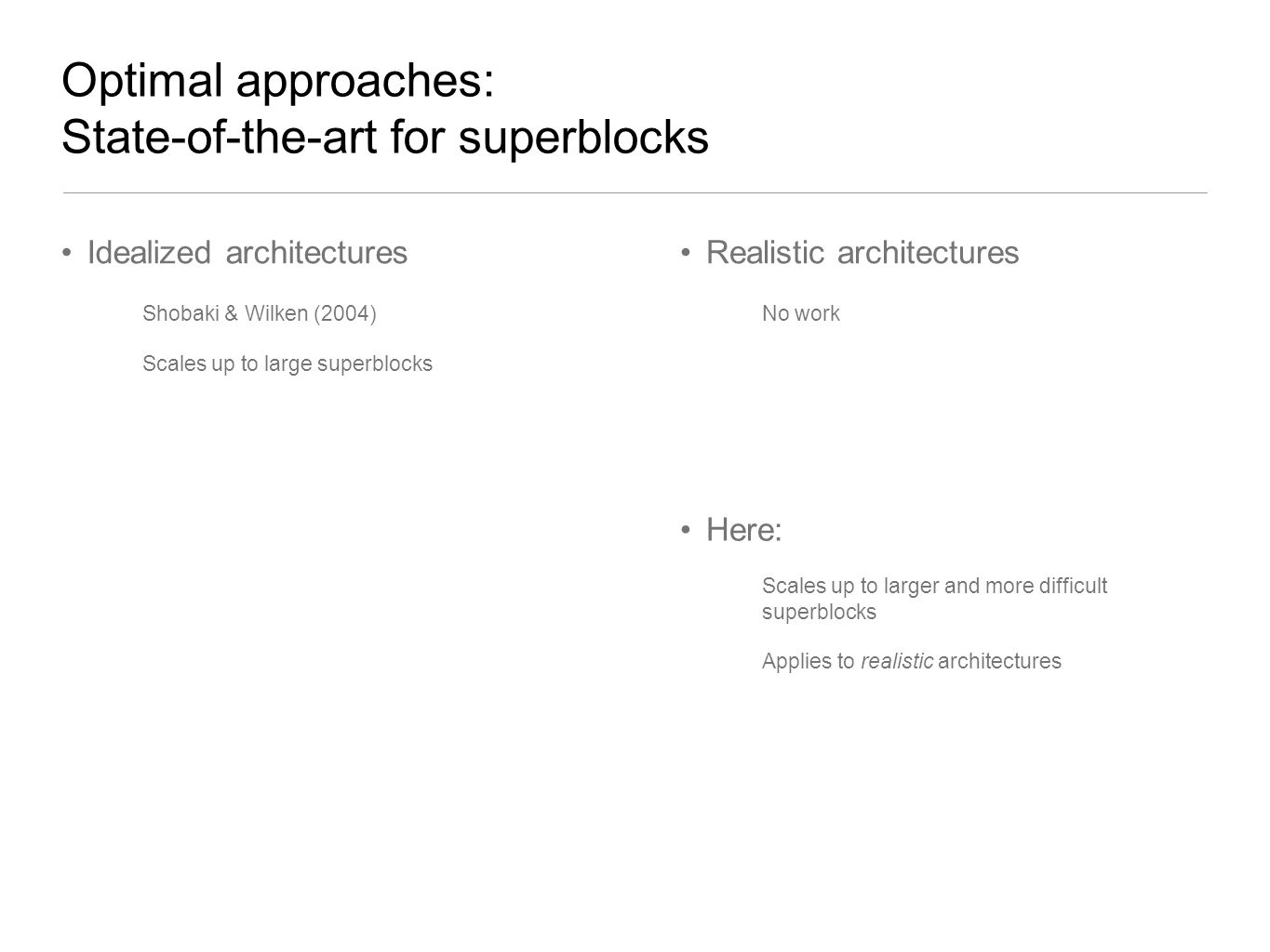 Optimal approaches: State-of-the-art for superblocks Idealized architectures Shobaki & Wilken (2004) Scales up to large superblocks Realistic architec