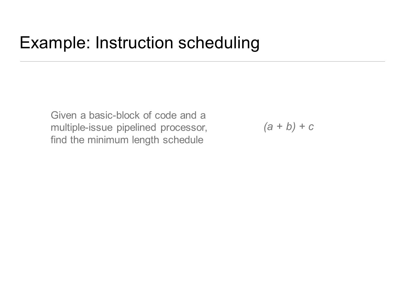(a + b) + c Example: Instruction scheduling Given a basic-block of code and a multiple-issue pipelined processor, find the minimum length schedule