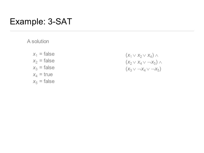 Example: 3-SAT A solution x 1 = false x 2 = false x 3 = false x 4 = true x 5 = false (x 1  x 2  x 4 )  (x 2  x 4   x 5 )  (x 3   x 4   x 5