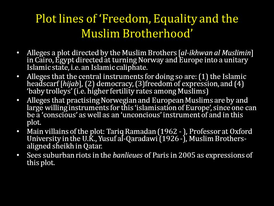 Plot lines of 'Freedom, Equality and the Muslim Brotherhood' Alleges a plot directed by the Muslim Brothers [al-ikhwan al Muslimin] in Cairo, Egypt directed at turning Norway and Europe into a unitary Islamic state, i.e.