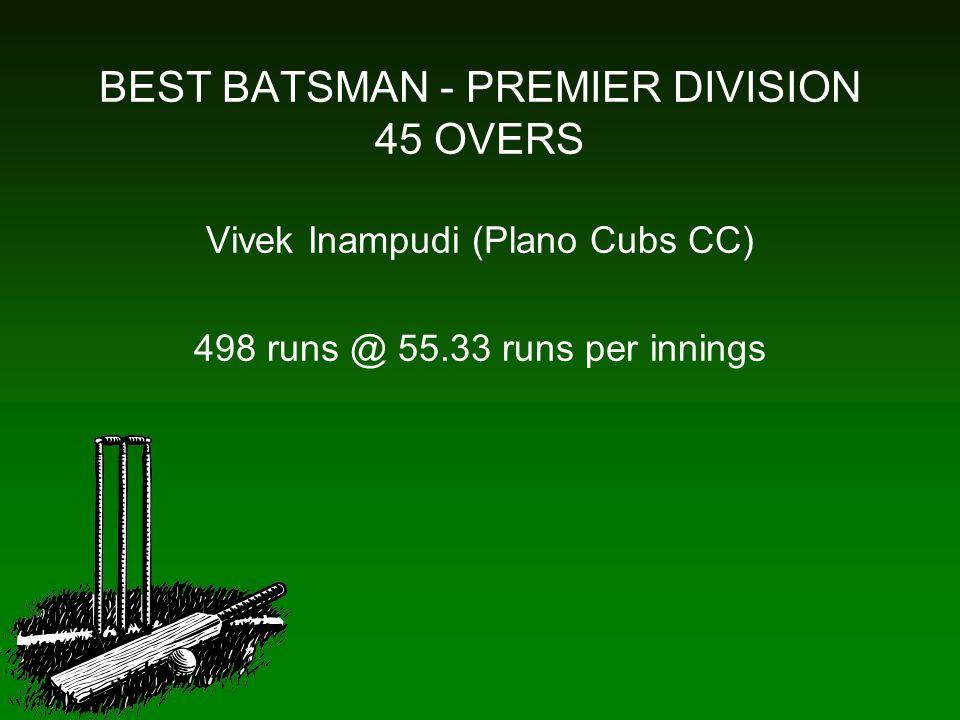 BEST BATSMAN - PREMIER DIVISION 45 OVERS Vivek Inampudi (Plano Cubs CC) 498 runs @ 55.33 runs per innings